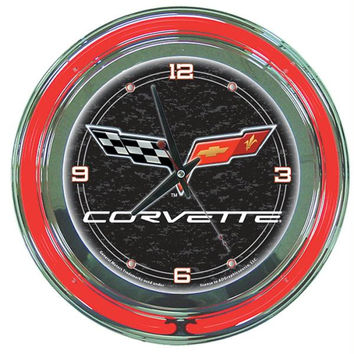 Corvette C6 Neon Clock - 14 inch Diameter - Black