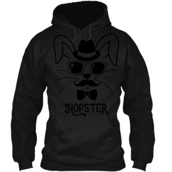 Hopster Funny Hipster Easter Bunny T-Shirt Pullover Hoodie 8 oz