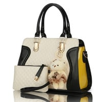 Zipper Beading Leather Handbag with Purse and Bear Tool