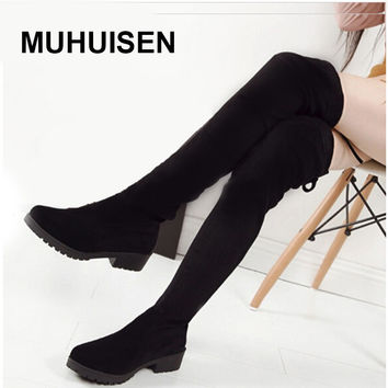 Women Boots 2016 Autumn Winter Ladies Fashion Slim Flat Heel Leather Boots Shoes Over The Knee Thigh High Long Boots