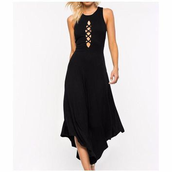 DCCKU62 sexy women backless jumpsuit bodysuit lace up tie front stretch bodycon elegant rompers women jumpsuit