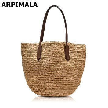 ARPIMALA 2017 Famous Brand Designer Beach Bag High Quality Women Bag for Vacation Women Travel Straw Handbag Shopper Purses Tote