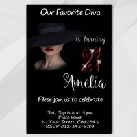 21st Birthday invitation, Diva Birthday Invitation, 13th 18th 21st 30th 40th, Chalkboard Custom Birthday etsy invite A006-5