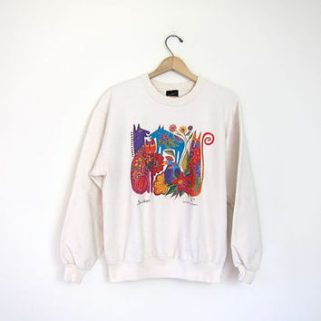 Vinage CAT BIRD ZEBRA sweatshirt cream Pullover Grunge 90s sweater Hipster. Laurel Burch. Artist Colorful Animals Southwestern Flowers. S M