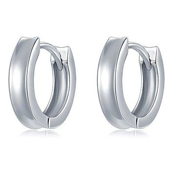 MBLife 925 Sterling Silver Polished Finish Tiny Round Concave Hoop Earrings Diameter 05quot