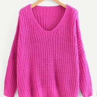V Neck Drop Shoulder Oversized Sweater