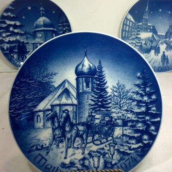 "Vintage Christmas Plate from Germany - Blue and White Collectible 8"" Plate - Gift Idea, Christmas Decor"