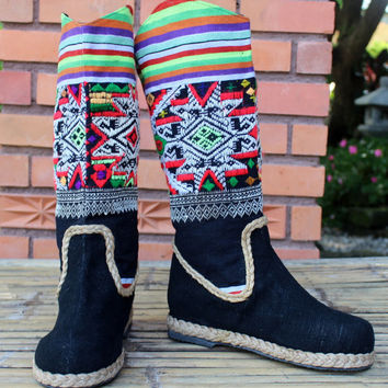 Vegan Cowboy Style Womens Boots In Ethnic Laos Embroidery Pull On Flat Heel