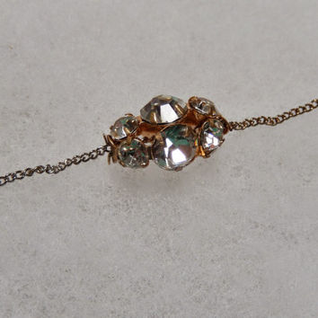 15 Inch Chain with Four-Sides Rhinestone Bead Pendant