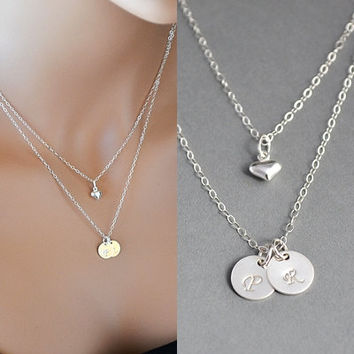 Double Layered Initial Necklace, Two Initial Disc Necklace, Sterling Silver Initial Disc Necklace, Personalized Necklace