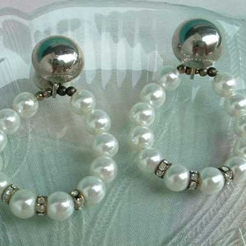 Convertible Pearl Hoop Earrings Rhinestone Rondels Leverbacks Elegant Jewelry