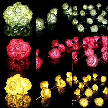 20 LED Flower Rose Fairy String Light Lamp Wedding Party Christmas Decor Gift [7981620295]