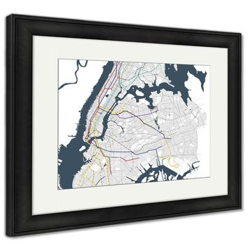 Framed Print, Map Metro Of The New York City Ny USA