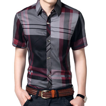 Striped Men Shirt 5XL Summer Short Sleeve Shirts Mens Clothes 100% Cotton Brand Clothing Business Mens Shirts Slim Fit