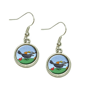 Crow in Autumn Dangle Drop Silver Charm Earrings