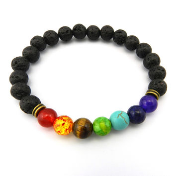 8mm Muti-color Beads Natural Bracelets Lava 7 Chakra Healing Balance Bracelet for Men Rhinestone Reiki Prayer Stones