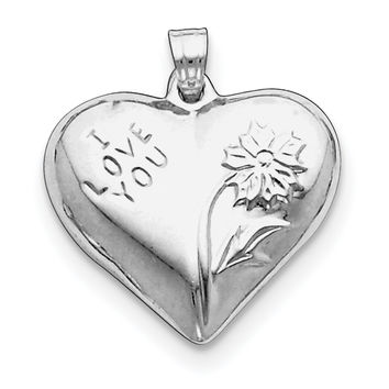 Sterling Silver Rhodium-plated Polished Floral Puffed Heart Pendant QC5970