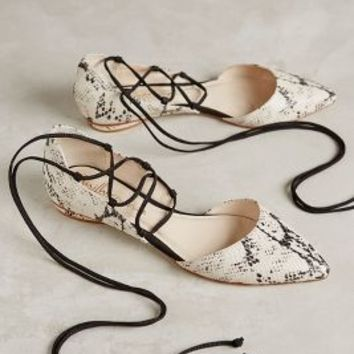 Guilhermina Rattler Wrap-Around Flats Neutral Motif