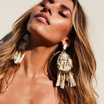 Tassel and Coin Carnivale Earrings (Cream/Gold)