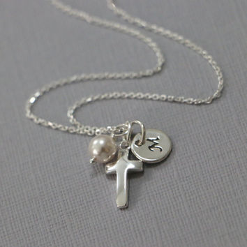 Confirmation Gift, Personalized Cross Necklace, Sterling Silver Cross Necklace, Tiny Cross Necklace, Baptism Gift, Flower Girl Gift