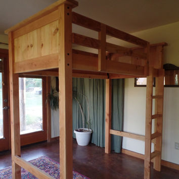 Twin Loft Bed- Fir/Pine, solid wood, all natural finish, heirloom quality, built for lifetime use