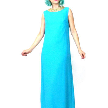 70s Turquoise Grecian Dress Cut Out Back Blue Maxi Evening Gown Draped Cape Rhinestones Metallic Gold Trim Sleeveless Column Dress (XS/S)