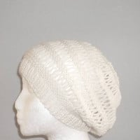 Knitted open weave Beanie Beret wool Winter White  4481
