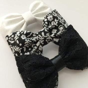 White silver shimmer, black and white floral, and black lace Seaside Sparrow hair bows. Hair bow gift hair clip girl  hair accessory girl