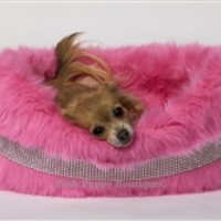 Blinky Band Luxury Rhinestone Faux Fur Bed- Pink - Beds, Blankets & Furniture - Luxury Beds Posh Puppy Boutique