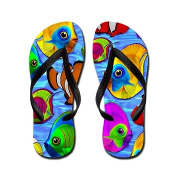 Tropical Fishes Pattern Flip Flops