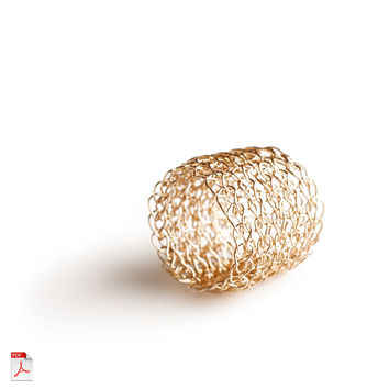 Wire crochet band ring PDF pattern - learn how to crochet a gold ring ebook