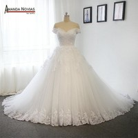 New Model Off the Shoulder Sleeves Wedding Dress With Long Train