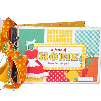 Kitschy retro apron recipe book album with recipe cards and dividers / aqua green yellow orange red