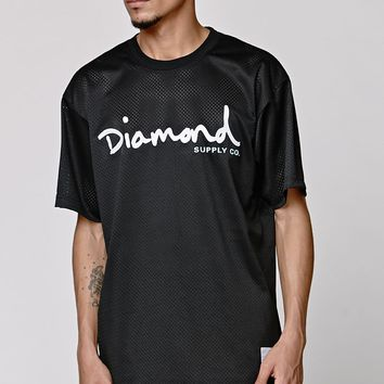 Diamond Supply Co Script Logo Mesh T-Shirt - Mens Tee - Black