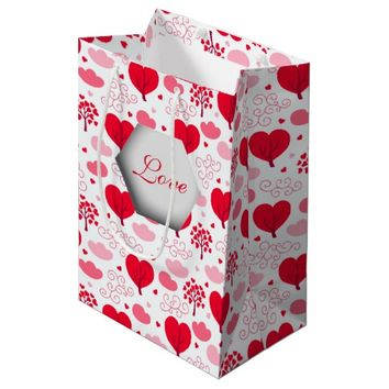 3D Love, Heart Trees and Pink Clouds Medium Gift Bag