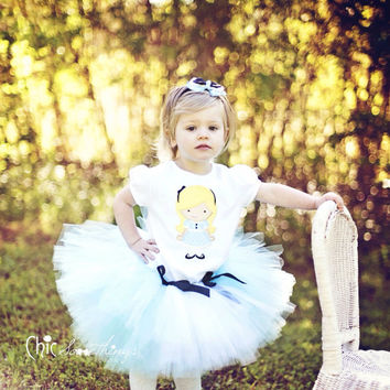 Alice in Wonderland Tutu, Baby Tutu, Photo Prop, Childrens Toddler Infant Tutu, Halloween Costume, Alice in Wonderland Birthday
