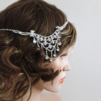 Bridal Rhinestone Headpiece - Wedding Jewelry - Bridal Hair Accessories -- Pearl Crystal Head Piece - Gatsby Bridal Headpiece Jewelry