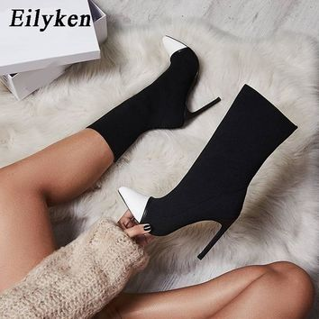 Eilyken 2018 New Arriva Stretch Fabric Women Ankle Boots Pointed Toe High Heels Slip-On Sexy Sock heels Chelsea Boots size35- 42