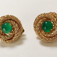 Coiled Twisted Wire Earrings Green Stone Clip Style Gold Tone Vintage