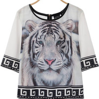 White Tiger Print Half Sleeve Blouse
