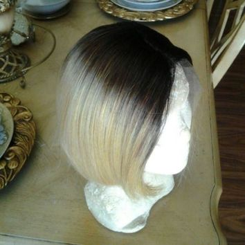 Blonde Beauty Straight Bob Full Lace Front Wig 10-12 inches Curved