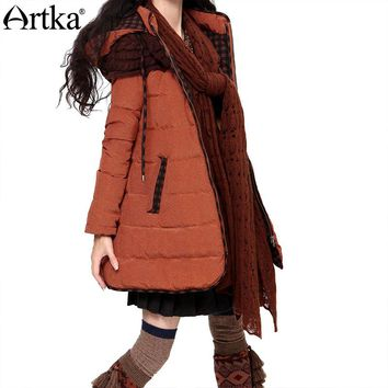 Artka Winter Down Jacket Women Thick Parka With Hood 2017 Warm Windbreaker Female Long Raincoat Duck Down Coat Women ZK16235D