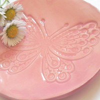 Butterfly Ceramic Plate Pink Dish Animal Ring Holder by Ceraminic