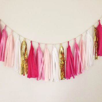 Pinks and Gold Tassel Garland - Party Decor, Pink Decor, Bridal Party Decor, Birthday Party, Wedding Decor, Nursery, Baby Shower