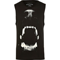 River Island MensBlack dog bite print tank top