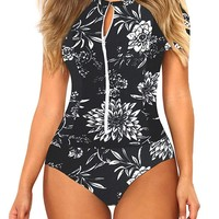 Women's Floral Zip Up Swimsuit Rash Guard Surf Suit