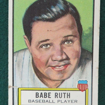 Babe Ruth Look 'n See Trading Card, Vintage 1950s TOPPS No. 15, Famous Americans Collectible Card