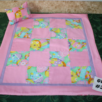 "American Girl sized, reversible doll bed quilt 18"" x 21"" with matching pillow 4"" x 6"""