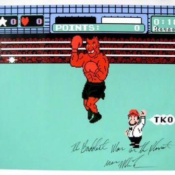 LMFONY Mike Tyson Signed Autographed 'The Baddest Man On The Planet' 31x37 Canvas Punch Out (ASI COA)