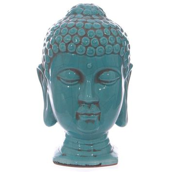 Turquoise Crackle-Glaze Thai Buddha Head 27cm